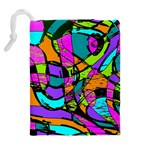 Abstract Sketch Art Squiggly Loops Multicolored Drawstring Pouches (Extra Large) Back