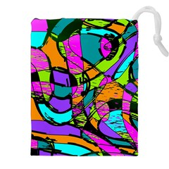 Abstract Sketch Art Squiggly Loops Multicolored Drawstring Pouches (xxl) by EDDArt