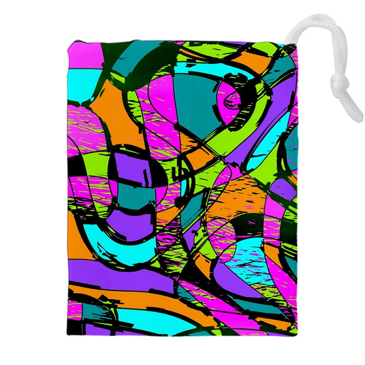 Abstract Sketch Art Squiggly Loops Multicolored Drawstring Pouches (XXL)