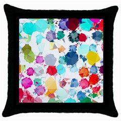 Colorful Diamonds Dream Throw Pillow Case (black) by DanaeStudio