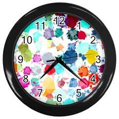 Colorful Diamonds Dream Wall Clocks (black) by DanaeStudio