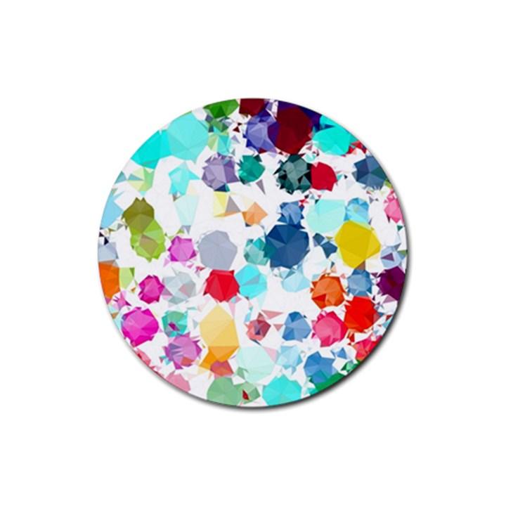 Colorful Diamonds Dream Rubber Round Coaster (4 pack)
