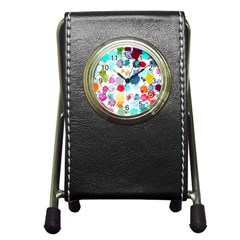 Colorful Diamonds Dream Pen Holder Desk Clocks by DanaeStudio