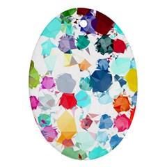 Colorful Diamonds Dream Oval Ornament (two Sides) by DanaeStudio
