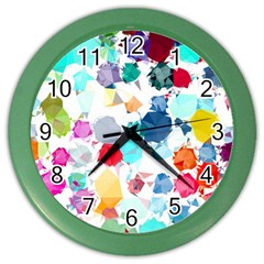 Colorful Diamonds Dream Color Wall Clocks by DanaeStudio