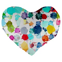 Colorful Diamonds Dream Large 19  Premium Flano Heart Shape Cushions by DanaeStudio