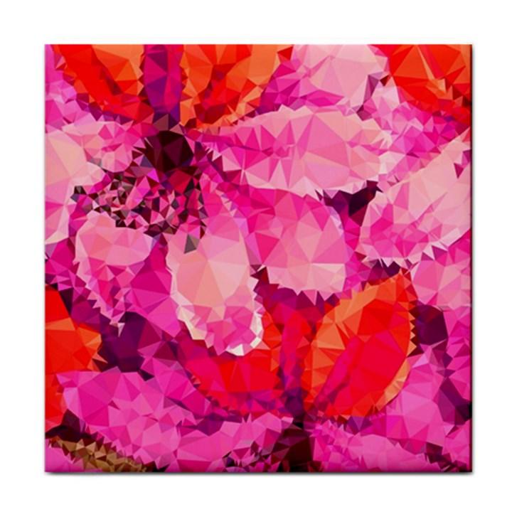 Geometric Magenta Garden Tile Coasters