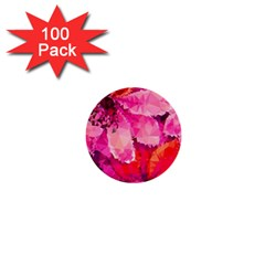 Geometric Magenta Garden 1  Mini Buttons (100 Pack)  by DanaeStudio