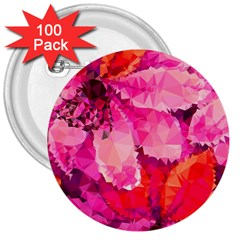 Geometric Magenta Garden 3  Buttons (100 Pack)  by DanaeStudio