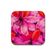 Geometric Magenta Garden Rubber Square Coaster (4 Pack)  by DanaeStudio