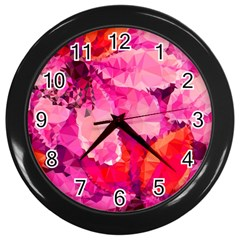 Geometric Magenta Garden Wall Clocks (black) by DanaeStudio