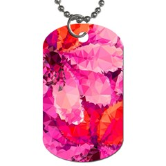 Geometric Magenta Garden Dog Tag (One Side)