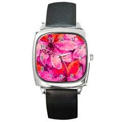 Geometric Magenta Garden Square Metal Watch by DanaeStudio