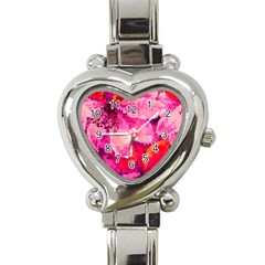 Geometric Magenta Garden Heart Italian Charm Watch by DanaeStudio