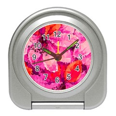 Geometric Magenta Garden Travel Alarm Clocks