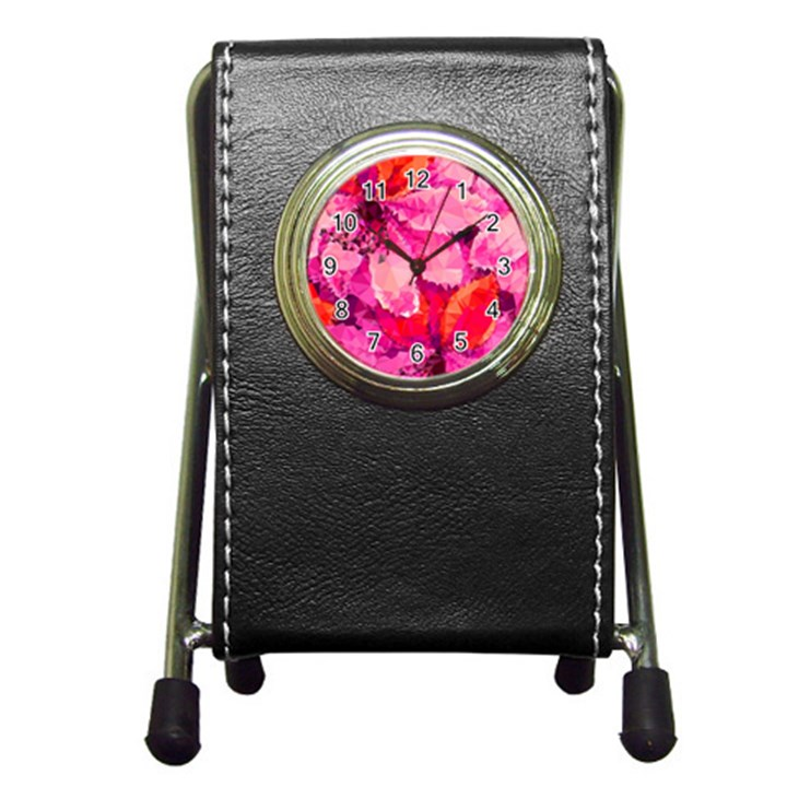 Geometric Magenta Garden Pen Holder Desk Clocks