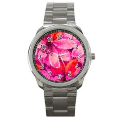Geometric Magenta Garden Sport Metal Watch