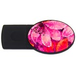 Geometric Magenta Garden USB Flash Drive Oval (4 GB)  Front