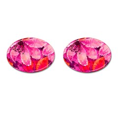 Geometric Magenta Garden Cufflinks (oval) by DanaeStudio