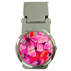 Geometric Magenta Garden Money Clip Watches