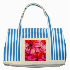 Geometric Magenta Garden Striped Blue Tote Bag