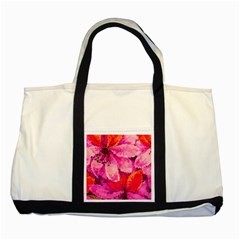 Geometric Magenta Garden Two Tone Tote Bag by DanaeStudio
