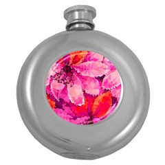 Geometric Magenta Garden Round Hip Flask (5 oz)