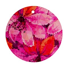 Geometric Magenta Garden Round Ornament (two Sides)  by DanaeStudio