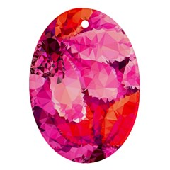 Geometric Magenta Garden Oval Ornament (two Sides)