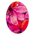 Geometric Magenta Garden Oval Ornament (Two Sides) Back