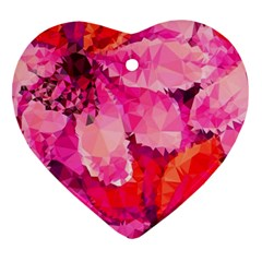 Geometric Magenta Garden Heart Ornament (2 Sides) by DanaeStudio