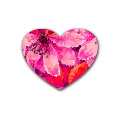 Geometric Magenta Garden Heart Coaster (4 pack)