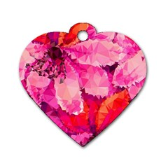 Geometric Magenta Garden Dog Tag Heart (one Side) by DanaeStudio