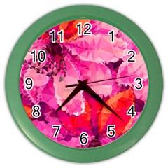 Geometric Magenta Garden Color Wall Clocks by DanaeStudio