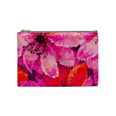 Geometric Magenta Garden Cosmetic Bag (medium)  by DanaeStudio