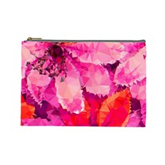 Geometric Magenta Garden Cosmetic Bag (large)  by DanaeStudio