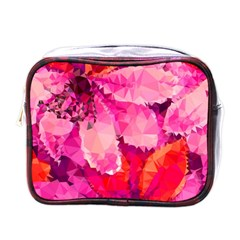 Geometric Magenta Garden Mini Toiletries Bags