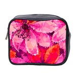 Geometric Magenta Garden Mini Toiletries Bag 2-Side Front