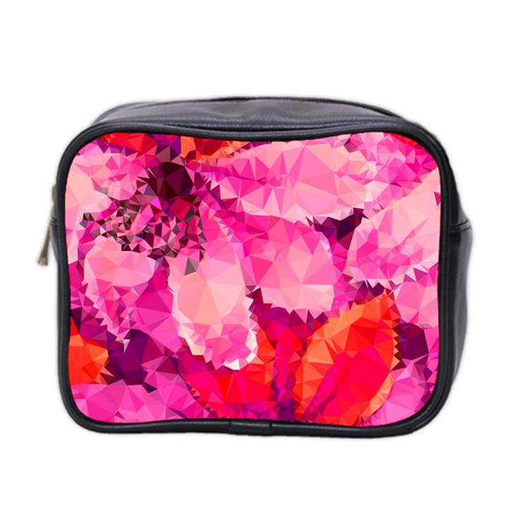 Geometric Magenta Garden Mini Toiletries Bag 2-Side