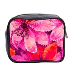 Geometric Magenta Garden Mini Toiletries Bag 2-Side Back