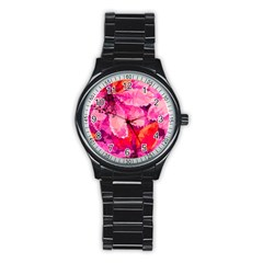 Geometric Magenta Garden Stainless Steel Round Watch