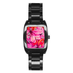 Geometric Magenta Garden Stainless Steel Barrel Watch