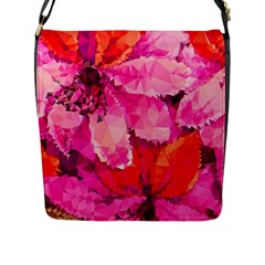 Geometric Magenta Garden Flap Messenger Bag (l)  by DanaeStudio