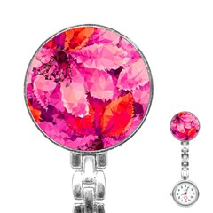Geometric Magenta Garden Stainless Steel Nurses Watch