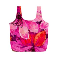 Geometric Magenta Garden Full Print Recycle Bags (m)  by DanaeStudio