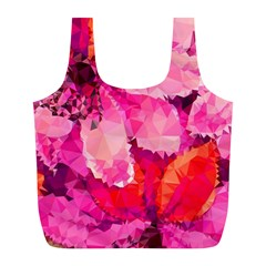 Geometric Magenta Garden Full Print Recycle Bags (l)  by DanaeStudio
