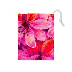 Geometric Magenta Garden Drawstring Pouches (medium)  by DanaeStudio