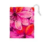 Geometric Magenta Garden Drawstring Pouches (Large)  Front