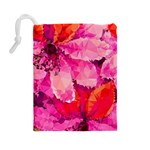 Geometric Magenta Garden Drawstring Pouches (Large)  Back