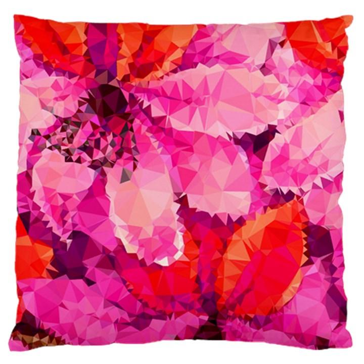 Geometric Magenta Garden Standard Flano Cushion Case (One Side)